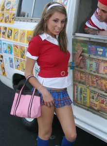 Perfect Teen Tease Allyssa Hall Gets The Ice Cream Bang Of Her Young Life As She Sucks And Fucks The Ice Cream Truck Delivery Guy Till He Explodes All Over Her Pretty Face And Perky Tits - Picture 1